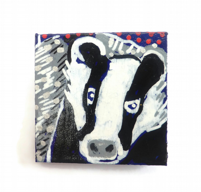 Badger Brooch, Hand Painted Brooch, Woodland Animal, Badger Jewellery