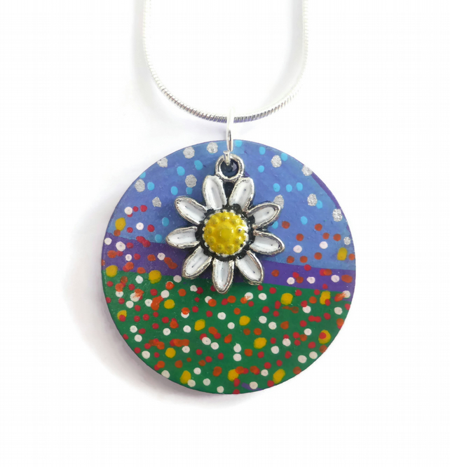 Daisy Necklace, Hand Painted on Wood Necklace, Flower Jewellery