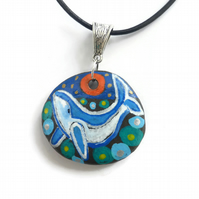Hand Painted Whale Necklace on Pebble