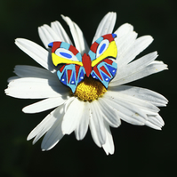Butterfly Brooch, Hand Painted Brooch on Wood