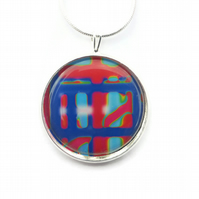Multicoloured Necklace, 25mm Round Pendant, Illustrated Jewellery