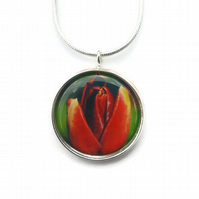 Red Tulip Necklace Pendant, Mothers Day Gift, Spring Jewellery