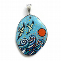 Hand Painted Flying Birds and Sea Pendant Necklace on Pebble, Pebble Painting