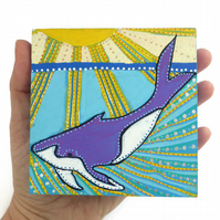 Original Whale Painting on Wood, Whale Illustration, Whale Art