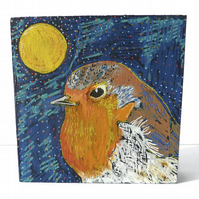 Original Bird Painting on Wood, Robin Art, Bird Art, Bird Painting