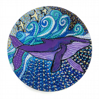 Hand Painted Wooden Plate, Whale Painting, Whale Art on Wood