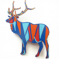 Hand Painted Deer Brooch On Wood, Wearable Art Jewellery