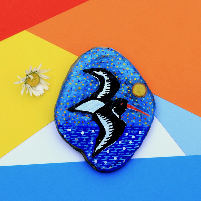 Oystercatcher Hand Painted Pebble, Mother's Day Gift, Rock Art, Stone Painting