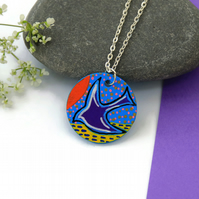 Painted Flying Bird Necklace on Wood