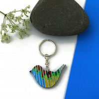 Colourful Bird Keyring, Hand Painted on Wood