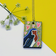 Robin Necklace, Hand Painted Bird Pendant