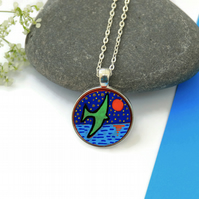 Flying Bird Necklace, Hand Painted on Wood