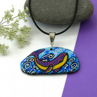 Whale Necklace, Whale Art, Pebble Art, Pebble Painting, Whale Illustration