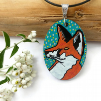 Fox, Fox Painting, Fox Necklace, Fox Art, Fox Jewellery, Hand Painted Necklace