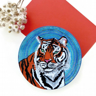 Hand painted tiger wooden decorative dish, tiger lovers gift