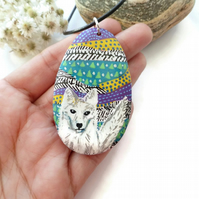 Arctic fox Scandinavian style hand painted necklace pendant