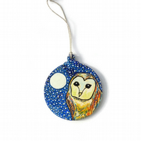 Hand painted barn owl wooden decoration