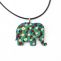 Hand painted elephant wooden necklace pendant