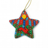 Hand painted wooden hare decoration, Christmas star ornament