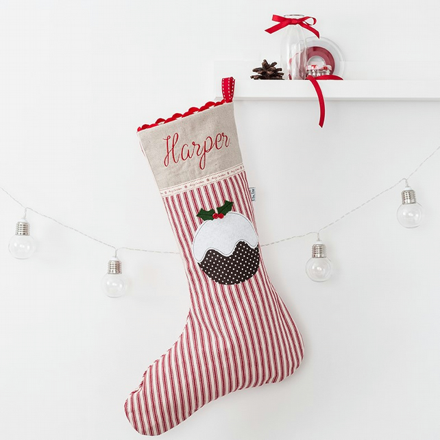 Red Stripe Personalised Christmas Pudding Stocking
