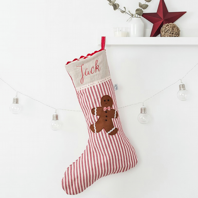 Personalised Gingerbread Man Christmas Stocking