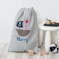 Personalised Pirate Ship Laundry bag