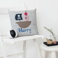 Pirate Ship Personalised Cushion