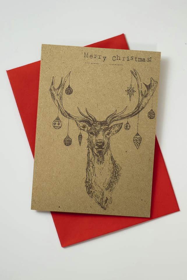 stag head bauble recycled christmas card