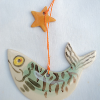 Starry Gazey Mackerel with Golden Star Hanging Decoration