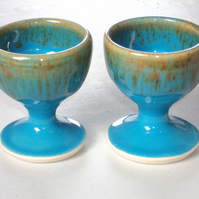 Egg Cups x 2 in Turquoise Mottle Glaze