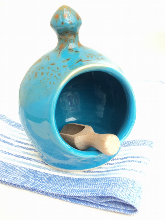 Salt Pig, medium and Scoop in Turquoise Glaze made in Ceramic