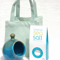 Salt Pig, Medium size, in Turquoise Glaze with Cornish Sea Salt in a Gift Bag