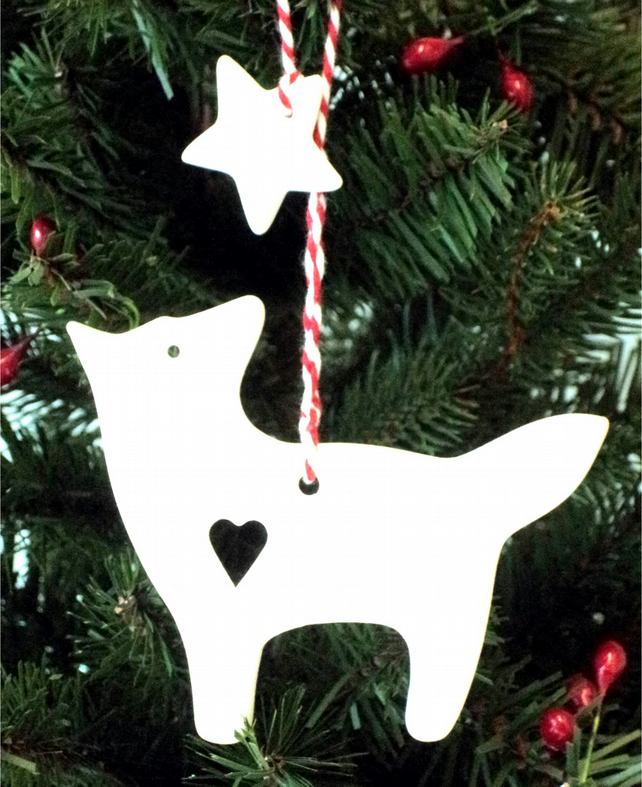 Christmas Hanging Decoration Snow Fox and Star in White Ceramic