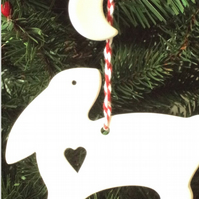Christmas Hanging Decoration Snow Hare and Moon in White Ceramic