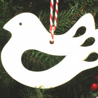 Christmas Hanging Decoration Dove in White Ceramic