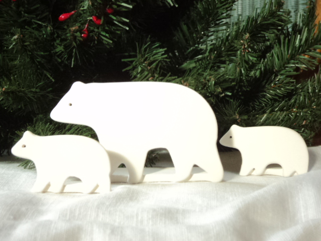 Polar Bear Family, Mother and Two Babies, Standup Decoration