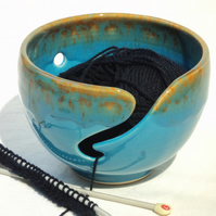 Wool Bowl - Yarn Bowl Handthrown with Turquoise Mottle Glaze