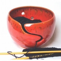 Wool Bowl -  Yarn Bowl Handthrown with Red  Mottle Glaze