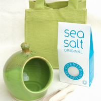 Salt Pig - Medium size - in Green Glaze - with Cornish Sea Salt - in a Gift Bag