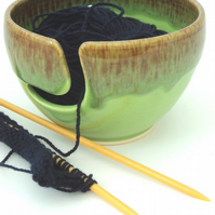 Wool Bowl -  Yarn Bowl - Handthrown with Green  Mottle Glaze