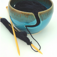Wool Bowl -  Yarn Bowl - Handthrown with Turquoise  Mottle Glaze