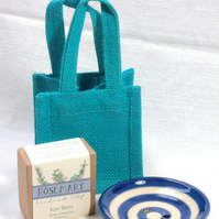 Soap dish with blue stripe - Gift set