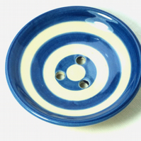 Hand  made Soap Dish in ceramic, with Cobalt Blue Stripe.