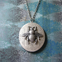 Vintage Style Antiqued Silver Locket with Bee, Long Elegant Handmade Necklace