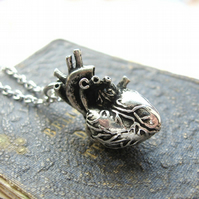 My Beating Heart - Antiqued Silver Plated Human Heart Pendant Necklace Gift Box