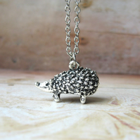 Spike - Antiqued Silver Plated Hedgehog Handmade Pendant Necklace - Gift Box