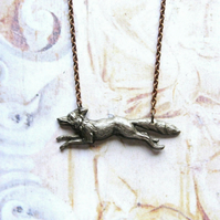 Antiqued Silver Plated Running Fox and Copper Chain Handmade Necklace Gift Box