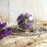 Hand Blown Glass Bead, Dried Statice Flowers, Antiqued Silver Chain Necklace
