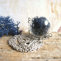 Hand Blown Glass Bead, Dark Blue Reindeer Moss, Antiqued Silver Chain Necklace