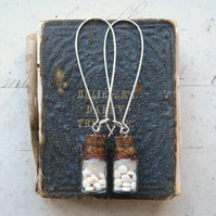 Keep Taking The Medicine - Pills in Tiny Glass Bottles Antiqued Silver Earrings